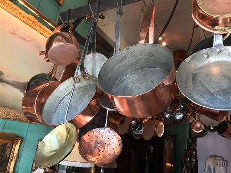 kitchen ceiling mounted pot rack  antique copper pots