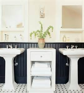 Black Bathroom with Wainscoting