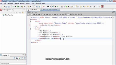 html resume part1 youtube