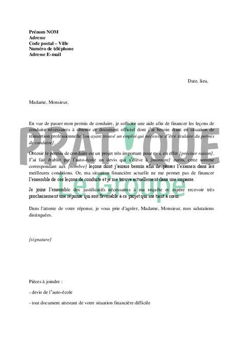 lettre de motivation pour aide de cuisine lettre de demande de financement du permis de conduire au