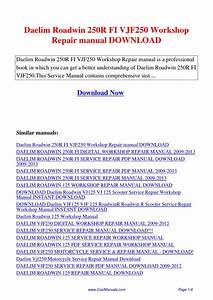 Daelim Roadwin 250r Fi Vjf250 Workshop Repair Manual Pdf By Guang Hui