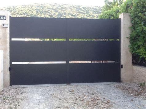 portail en fer moderne motorisation de porte de garage carlier construction