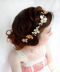 Champagne Bridal Headband Hair Accessories Gold Flower