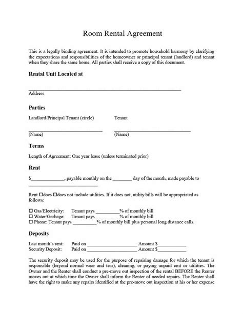 simple room rental agreement templates template