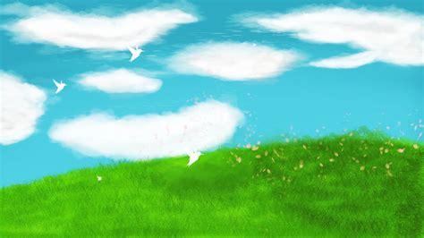 無料ダウンロードのための青い空草子供イラスト背景デザインを描いた 塗られた背景 青空 白い雲の背景画像