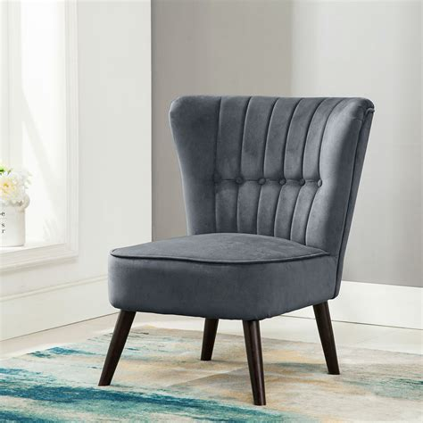 Bedroom Chair by Eline Velvet Button Back Retro Occasional Accent Bedroom