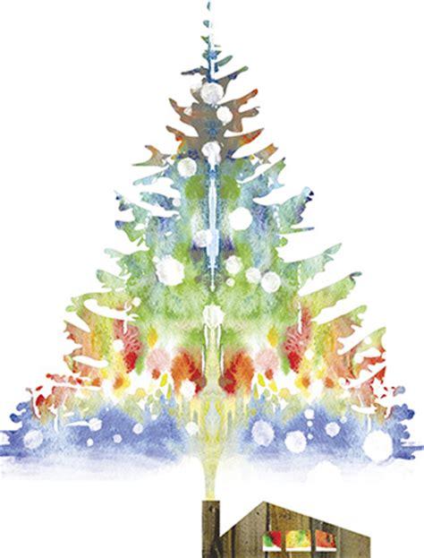 smoke christmas tree watercolor holiday card  masha