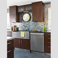 Glass Tile Backsplash Pictures  Cherry Cabinets, Recycled