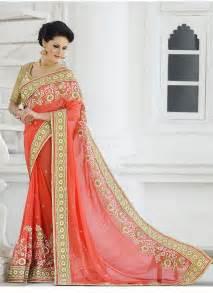 sari indien mariage sari indien orange georgette