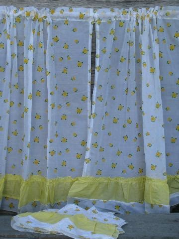 crisp white kitchen curtains  yellow flocked flowers