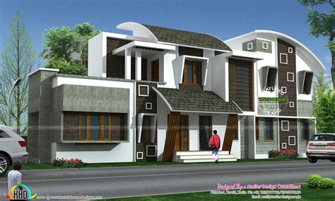 cute modern style curve roof home kerala home design  floor plans