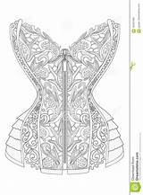 Lace Coloring Corset Adults Line sketch template