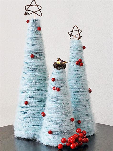 how to make yarn christmas trees hgtv