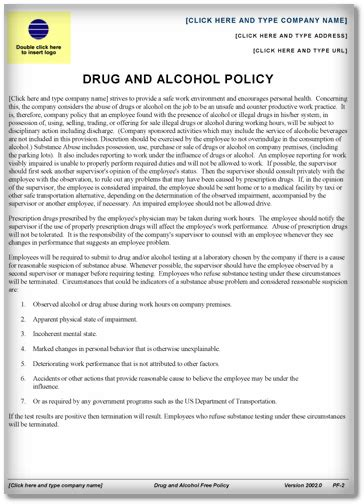 drug  alcohol policy template word  examples