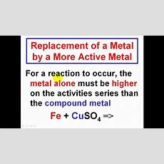 Predicting Products In A Single Replacement Reactions  Simply Explained Youtube