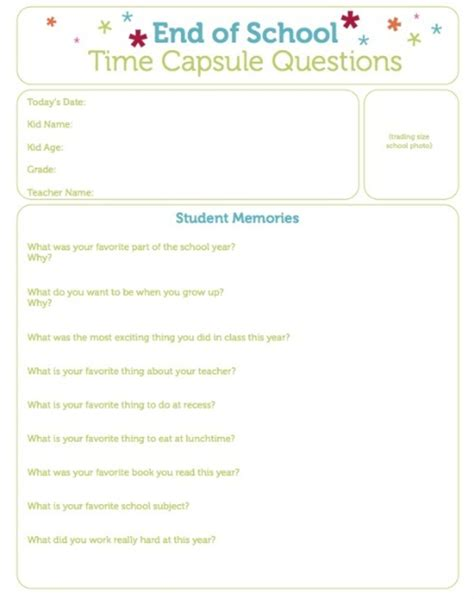 School Questions by End Of School Time Capsule Questions Printable Today S
