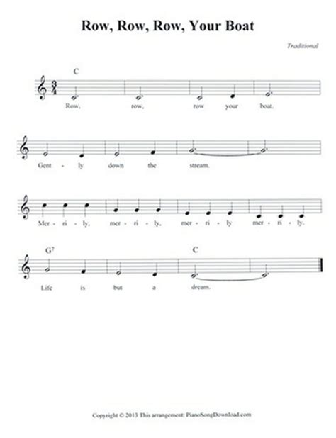 Row Your Boat Chords Piano by Row Row Row Your Boat Free Lead Sheet With Melody Chords