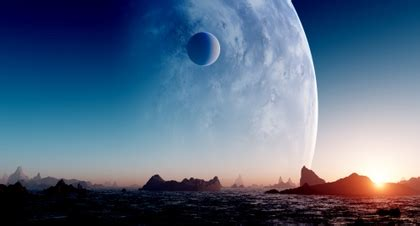 water sunset blue sun outer space planets rock moon ...
