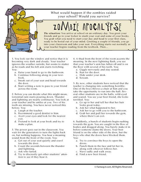 fun quiz page     survive  zombie apocalypse