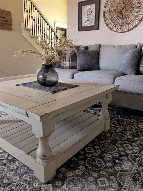 Square farmhouse style solid pine coffee table with lower shelf. Rustic Baluster farmhouse Coffee Table distressed in 2020 | Modern farmhouse table, Rustic ...