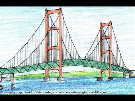 How to Draw a Mackinac Bridge Step by Step - very easy ...