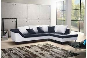 Canape d39angle design elvis convertible noir et blanc for Canapé convertible design avec tapis salle de bain original
