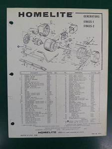 Vintage Homelite Generator Parts List Manual 119 A 35