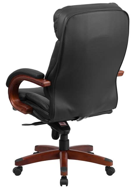 btod high back leather office chair mahogany wood base