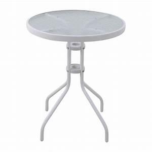 Table Verre Ronde : table de jardin en verre ronde rosa d60 cm blanc table de jardin eminza ~ Teatrodelosmanantiales.com Idées de Décoration