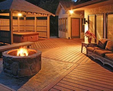 large deck  fire pit  covered hot tub  privacy