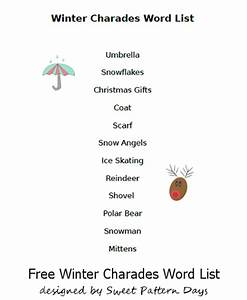 Winter Charades Game Word List | Activity Printables ...