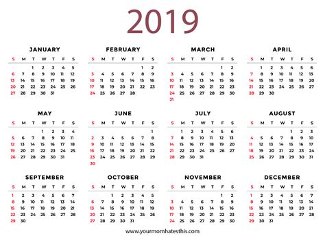 2019 Calendars Download Pdf Templates