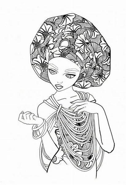 Coloring Pages African Adult Books Colouring Drawings