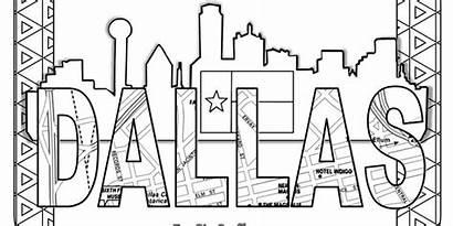 Texas Away Stuff Coloring Dallas Cares Skyline
