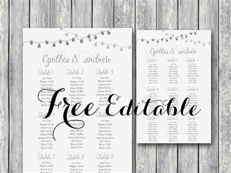 editable wedding seating chart template printable