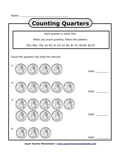counting quarters worksheets bing images homeschool