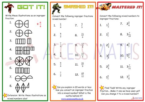 Mixed Improper Fractions Worksheet  4th Grade 5th Math Worksheets Changing Improper Fractions