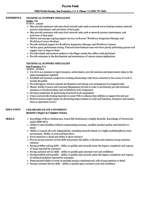 Technical Support Skills Resume by Technical Support Specialist Resume Sles Velvet