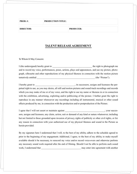 free talent release form the best free model release form template for photography