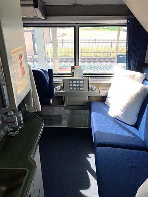 bedroom  amtrak superliner bathroomshower   corner  left  blue sofa