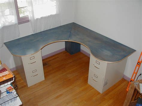 diy corner desk with file cabinets wraparound desk made from one sheet of plywood 2 filing