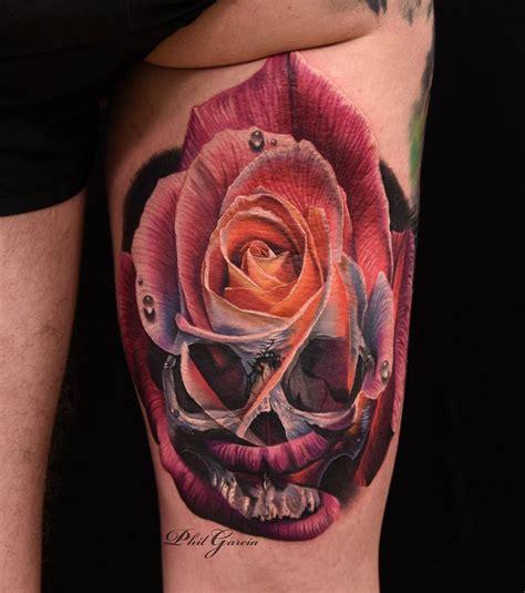 skull rose merged   tattoo design ideas