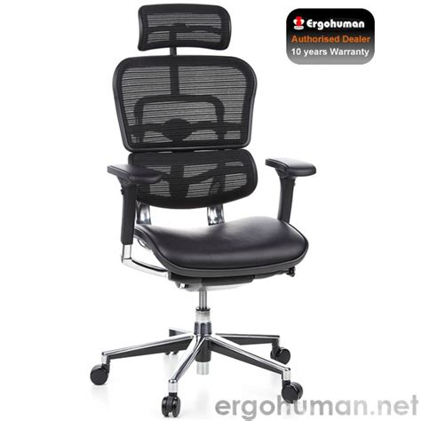 ergohuman ergohuman leather and mesh office chair with