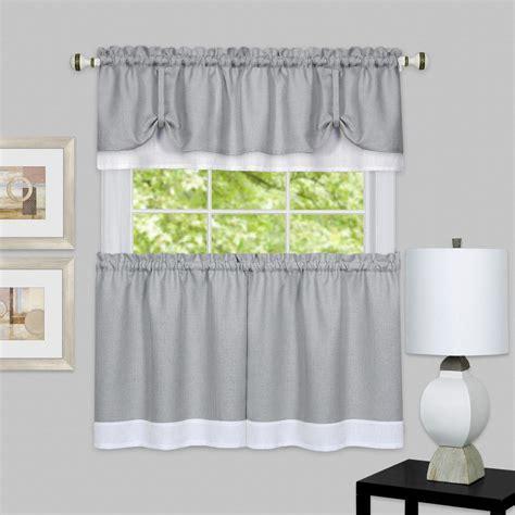 achim darcy greywhite polyester tier  valance curtain