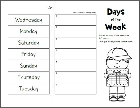 days   week worksheets mamas learning corner