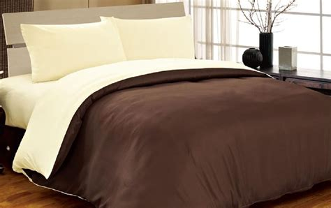 6pc Complete Double Reversible Chocolate Brown / Cream