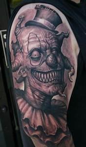 Creepy Evil Clown tattoo on Shoulder | Best Tattoo Ideas ...
