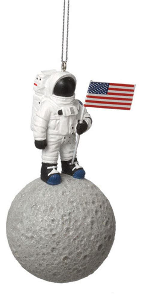 astronaut on moon christmas tree ornament nasa space