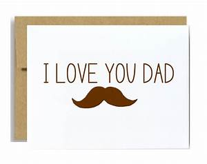 I love you dad mustache card fathers day greeting card brown