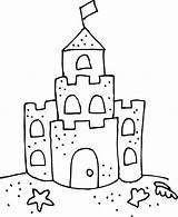 Castle Sand Coloring Clip Crafts Craft Preschool Sketch Sea sketch template